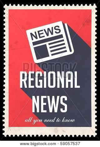 Regional News on Red in Flat Design.
