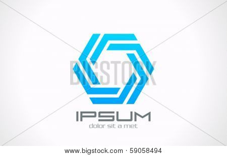 Octagon looped creative vector logo design template. Infinity loop icon.Business Technology looped