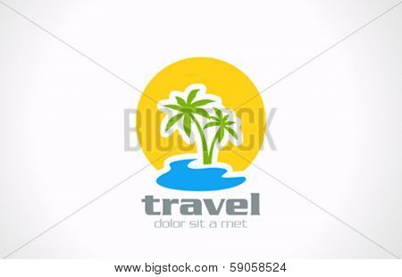 Tourism Travel abstract vector logo design template. Palms, sun, sea vacation holidays icon.