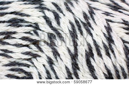 skein of yarn black and white melange closeup