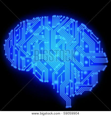 Illustration Of Circuit Board In Human Brain Form