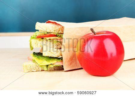 School breakfast on desk on  board background