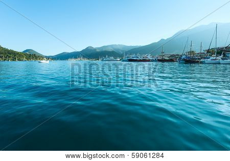 Excursion Ships In Bay.  (greece, Lefkada)