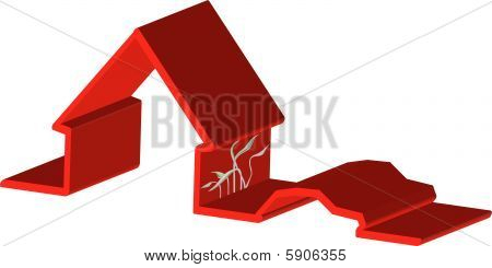 3D illustration of house and car red outline illustration vector
