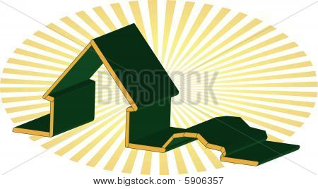 3D illustration of house and car green and yellow outline with rays illustration vector