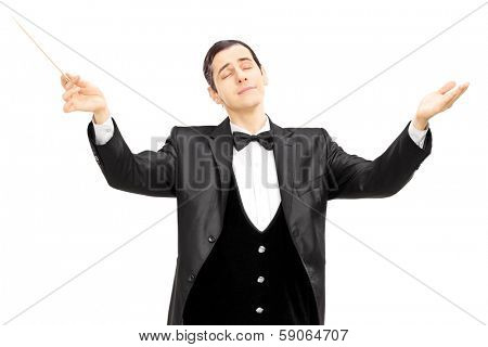 Male orchestra conductor directing with baton isolated on white background