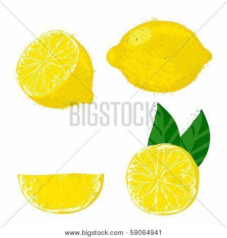 Vector illustration of lemon fruits.