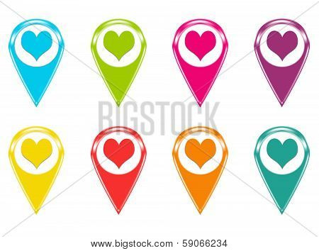Set of icons with heart symbol