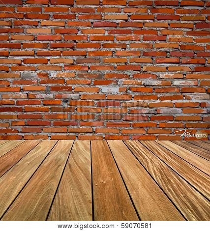 Room interior vintage with red brick wall and wood floor background. Vector illustration.