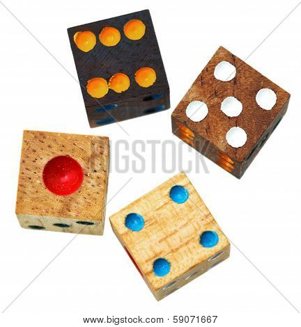 Four Wooden Gambling Dices Close Up Isolated