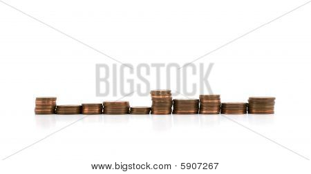 Stacks Of Coins In A Row