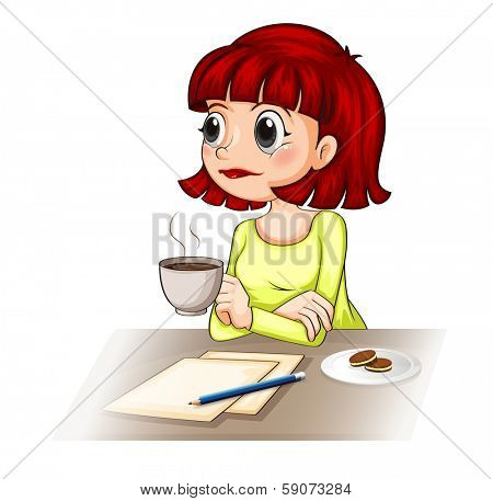 Illustration of a businesswoman taking her cup of tea while making a report on a white background