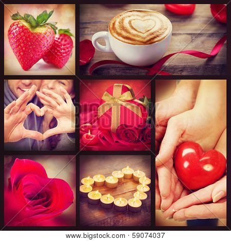 Valentine Collage. Valentines Day Hearts art design. Love. Red heart, roses, lips, ribbons on wooden background. Coffee, Gift, Strawberry, Flower Petals, burning Candles and heart in hands