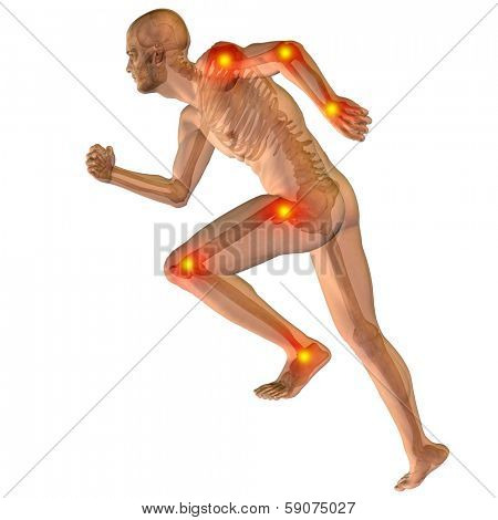 High resolution concept or conceptual 3D human anatomy body with pain isolated on white background as a metaphor to health, medicine, medical, biology,osteoporosis,arthritis,joint,inflammation or ache
