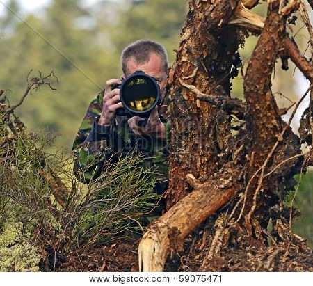Photographer Animal Painter In The Woods
