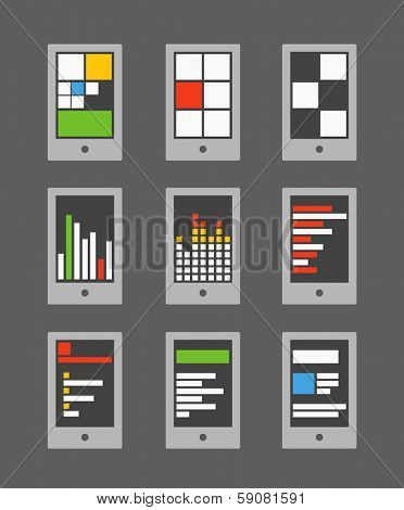 Tile mobile phone interface template collection