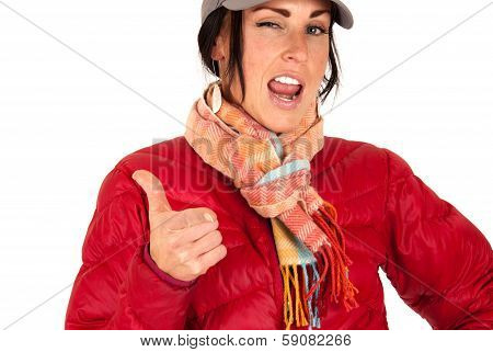 Attractive Female In Winter Wear Pointing And Winking