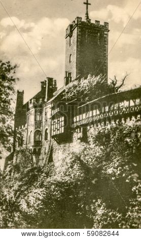 EISENACH, GERMANY, CIRCA FIFTIES - Vintage photo of Wartburg Castle
