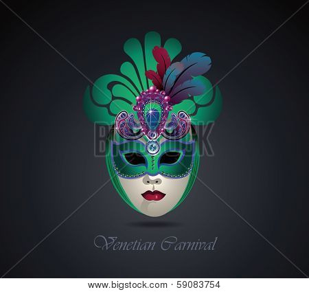 Venetian carnival mask with colorful feathers