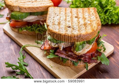 Grilled BLT Bacon, Lettuce and Tomato  Sandwiches with Chicken and Avocado