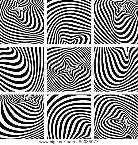 Set of op art textures in zebra pattern design. Vector art.
