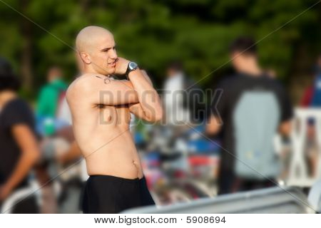 Triathlete In Transition