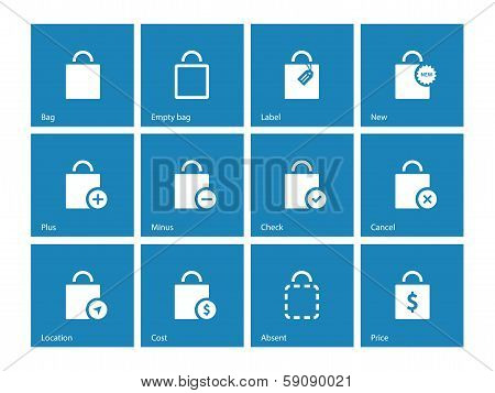 Shopping bag icons on blue background.