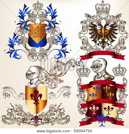 Vector Set Of Heraldic Shields In Vintage Style