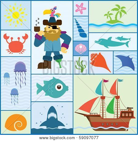 Vector set which represent various sea elements. Abstract decorative cute illustration. Graphic design elements for print and web