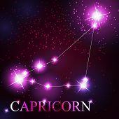 image of capricorn  - Capricorn zodiac sign of the beautiful bright stars on the background of cosmic sky - JPG
