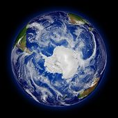 picture of south-pole  - Antarctica on blue planet Earth isolated on black background - JPG