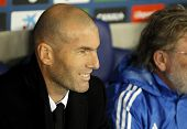 BARCELONA - JAN, 12: Real Madrid Sporting Diretor Zinedine Zidane during the Spanish League match be