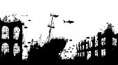 pic of shipwreck  - Editable vector foreground silhouette of marine life around a shipwreck and underwater city ruins - JPG