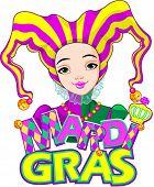pic of harlequin  - Mardi Gras harlequin lady design - JPG