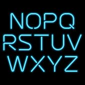 image of fluorescent light  - 3D realistic blue neon letters - JPG
