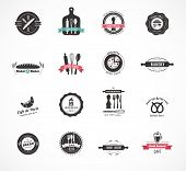 stock photo of pastry chef  - Set of vintage restaurant and food badges labels and icons - JPG
