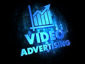 stock photo of televisor  - Video Advertising with Growth Chart  - JPG