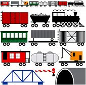stock photo of boxcar  - Trains cars and engine to make your own train - JPG