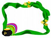 pic of end rainbow  - editable eps vector format jpeg large green bow at corner with ends going around edge of page with pot of gold and rainbow in left bottom corner with gold fourleaf shamrock on pot and ribbon - JPG