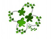 stock photo of fourleaf  - editable eps vector format jpeg four silver horseshoes in design of a fourleaf shamrock with green clovers around edge and center - JPG
