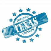 stock photo of texas star  - A blue ink weathered roughed up circle and stars stamp design with the word TEXAS with the state motto of FRIENDSHIP on it making a great concept - JPG