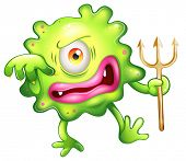 stock photo of horrifying  - Illustration of a horrified looking green monster on a white background - JPG