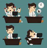 pic of worker  - Set of businessman sitting on desk office worker eps10 vector format - JPG