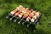 foto of brazier  - Grilled meat on sticks  - JPG