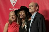 LOS ANGELES - JAN 24:  Caroline Smedvig, Steven Tyler, James Taylor at the 2014 MusiCares Person of
