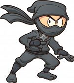 stock photo of ninja  - Cartoon ninja holding a star - JPG