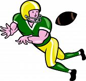 foto of scat  - Illustration of an american football gridiron wide receiver running back player catching ball facing side set on isolated background done in cartoon style - JPG