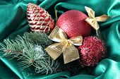 Beautiful Christmas decor on green satin cloth