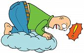 picture of adversity humor  - Illustration of a man Floating On Cloud - JPG