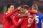 VIENNA,  AUSTRIA - MARCH 22 Andreas Weimann (#9 Austria) and David Alaba (#8 Austria) celebrate a go